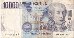 BILLETE DE ITALIA DE 10000 LIRAS DEL AÑO 1984 SERIE MF DE VOLTA  (BANKNOTE) - [ 2] 1946-… : República