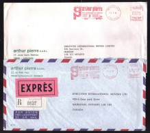 Dpt. YVELINES - 2 Lettres Pour Le CANADA / Affr. EMA..... Dont Recommandée Exprès à 45F25 / Années 1982 & 1987 - Postal Rates