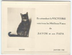 Occupation/Bristol /à Liseré Gaufré/En Attendant La Victoire/ Savon Et Son Papa/Carte De Voeux/1940   CVE23 - Saisons & Fêtes