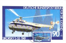 Deutsche Bundespost Maximum Card  -  Sikorsky S-55  -  1949  -  Premier Jour - Elicotteri