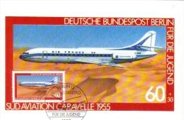 Deutsche Bundespost Maximum Card  -  Caravelle  -  1955  -  Premier Jour - Aerei