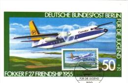 Deutsche Bundespost Maximum Card  -  Fokker F27 Friendship  -  1955  -  Premier Jour - Aerei