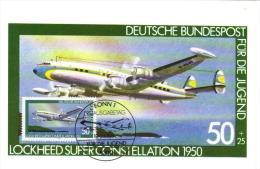 Deutsche Bundespost Maximum Card  -  Lockheed Super Constellation  -  1950  -  Premier Jour - Aerei
