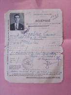 1932 Alger Récépissé Demande Carte Identité Travailleur + Photo Permis Séjour Né Sénija Espagne Réfugié Espagnol - Documents Historiques