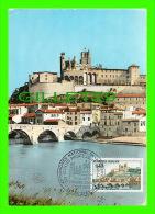CARTES-MAXIMUM - BÉZIERS (34) L´ORB, LE VIEUX PONT & CATHÉDRALE ST-NAZAIRE - 1er JOUR EN 1968 - CIM - Cartes-Maximum