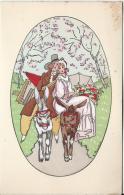 Carte Bristol   à Deux Volets /France/Couple D´amoureux Sur Ânons/J. TOUCHET/Vers 1930-1940    CVE27 - Saisons & Fêtes