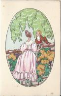 Carte Bristol   à Deux Volets /France/Amoureux  Parlant Par Dessus Un Mur/J. TOUCHET/Vers 1930-1940    CVE28 - Saisons & Fêtes