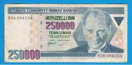 TURQUIA - TURKEY - 250.000 Liras 1970   Circulado  P-211 - Turquia