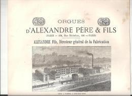 Publicité Orgues D´Alexandre Père & Fils (Alexandre Fils, Directeur Général) 106, Rue Richelieu à Paris De 1877 - Publicités