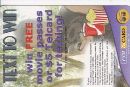Micronesia, FSM-R-029, Text To Win Free Movie Passes, Coke And Popcorn, 2 Scans. - Micronesia