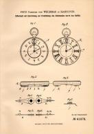 Original Patentschrift - F. Freiherr Von Wechmar In Hannover , 1887 , Ziffernblatt Von Uhren Für Tastsinn , Uhrmacher !! - Orologi Da Polso