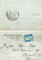 BIGLIETTO POSTALE-FORMATO RIDOTTO-BUCKINGHAM HOTE-PARIGI-SPEDITA A BUCAREST-ROMANIA - Storia Postale