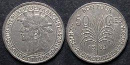 GUADELOUPE  50 Centimes  1903  Monnaie Coloniale  PORT OFFERT - Colonias