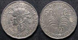 GUADELOUPE  50 Centimes  1921  Monnaie Coloniale  PORT OFFERT - Colonies