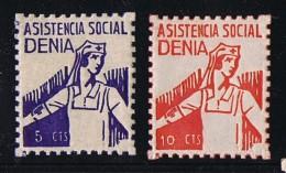 DENIA  Asistencia Social  5 Et 10 Cts Infirmière ** MNH - Spanish Civil War Labels