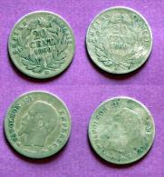 2 Pièces 20c  Argent  1860A Et BB - Frankrijk