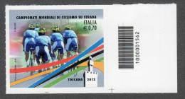 2013 CAMPIONATI MONDIALI DI CICLISMO SU STRADA 0,70C. CODICE A BARRE MNH** AUTOADESIVO - 6. 1946-.. Repubblica