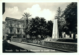 MARSALA (TP) VIA FRISELLA E MONUMENTO AI CADUTI CIVILI 1960 - Marsala