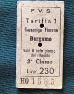 Billet F.V.S BERGAMO-GAZZANIGA-FIORANO 1964Col Schnabel - Bus