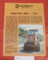 BNT BRATSTVO Novi Travnik (Bosnia) Crawler Tractor, Tracteur à Chenilles, Excavator, Caterpillar Bulldozer Dredge - Traktoren
