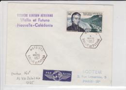 WALLIS - 1957 - ENVELOPPE De MATU-UTU - 1° VOL WALLIS à NOUVELLE CALEDONIE - - Luftpost