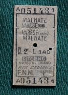 Billet F.N.M. VARESE-MALNATE 1964 Col Schnabel - Bus