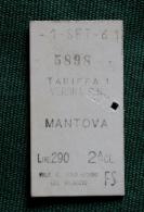 Billet De Train VERONA-MANTOVA 1961Col Schnabel - Bus