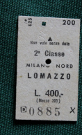 Billet De Train MILANO-LOMAZZO  1964 Col Schnabel - Autobus