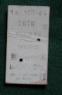 Billet De Train Milano- Gallarate1964 Col Schnabel - Bus