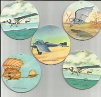 Lot De 5 Sous-bocks YABON - Les Pionniers De L'aviation - Beer Mats