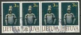 LITAUEN Lietuva Lithuania 1999 Der Ritter Michel 713 In 4-Streife O - Lithuania