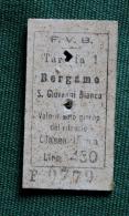 Billet F.V.B  St Giovanni Bianco-   BERGAMO 1964Col Schnabel - Chemins De Fer
