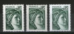3 N° 1964_3 Nuances_3 Gommes_3 Papiers_voir Détail_(v459) - Varietà: 1970-79 Nuovi