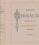 NARBONNE, Aude - Prix Courant - Vins De La Maison Gerbaud - 188? - 1800 – 1899