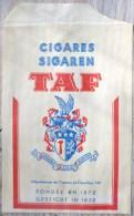 Fiche SACHET Publicitaire 15X10CM  Publicité ENVELOPPE Cigare TAF FONDE EN 1872 Ecrit En Allemand Et En Francais - Objets Publicitaires