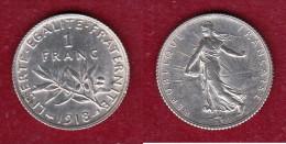 France - 1 Franc 1918 Argent - Bon état - Scan Conforme - H. 1 Franco