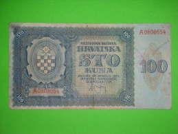Croatia,NDH,Hrvatska,WWII,1941.,100 Kuna,banknote,paper Money,bill,vintage - Croatia