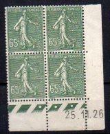 Semeuse N° 234 Neuf * En Bloc De 4 Coin Daté Du 25.11.26 - Cote 80€ - ....-1929