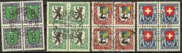 PJ 1924: Viererblock-Serie Mit Diversen Orts-Stempel  (Zumstein CHF 150-60 = 90.00) - Pro Juventute