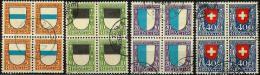 PJ 1922: Viererblock-Serie Mit Diversen Orts-Stempel  (Zumstein CHF 4x120 = 480.00) - Pro Juventute