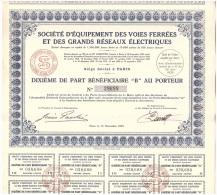 ACTION - VOIE FERREE - S.E.V.F.G.R.E. - TRAIN - PART BENEFICIAIRE - COMPLETE - 1935. - Chemin De Fer & Tramway