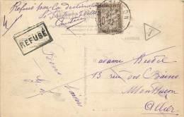 LETTRES TAXEES  Carte Postale  N 29 10 C Brun  De Fréteval à Montluçon  Signature Facteur   2 Scans - Lettres Taxées