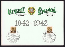 1942  PILSEN: Urquell Brewery Centennial Commemorative Folder And Cancel  Brewery Entrance Watercolour - Beers