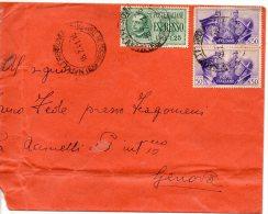 1941 Italia Busta 2porto Espresso C50x2+£1,25 Ritagliata Sx Lettera - Poststempel