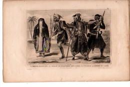 EGYPTE : PRINCE  Soldat D'infanterie Coureur Femme Du Caire,   Gravure XIXème Siècle - Old Paper