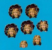DECOUPIS  ANCIENS GAUFRE, LOT 7, ENFANTS,  FLEURS, PENSEE, TRE BON ETAT,  + GRANDE 4.5 X 4.5 Cm, + PETITE 2.5 X 2 Cm - Enfants