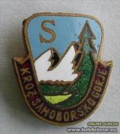 Climbing Mountaineering Alpinism,TRANSVERSAL - Through Samobor Highlands Pin #2359 , Croatia Old Enamel Pin From 1950th. - Alpinism, Mountaineering