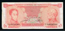 VENEZUELA -  5  Bolivares 1989 Circulado   P-70 - Venezuela