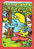 K73 / 1991 - DISNEY Cartoon The Smurfs - Calendar Calendrier Kalender -  Bulgaria Bulgarie Bulgarien Bulgarije - Calendarios