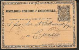 O) 1890 COLOMBIA-UNITED STATES OF COLOMBIA. COAT OF ARMS, 2 CENTAVOS, POSTAL CARD TO CURAC-CURAZAO, XF.- - Colombie